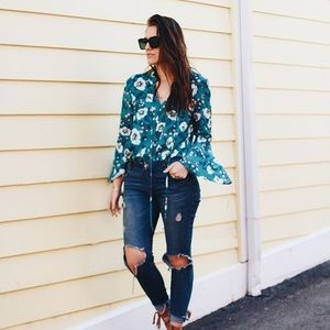 Tops - Bell Sleeve Teal Tunic Top